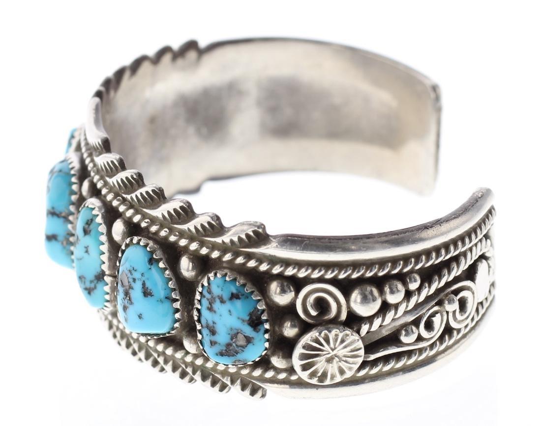 Sterling Silver Genuine Nugget Turquoise Bracelet - 2