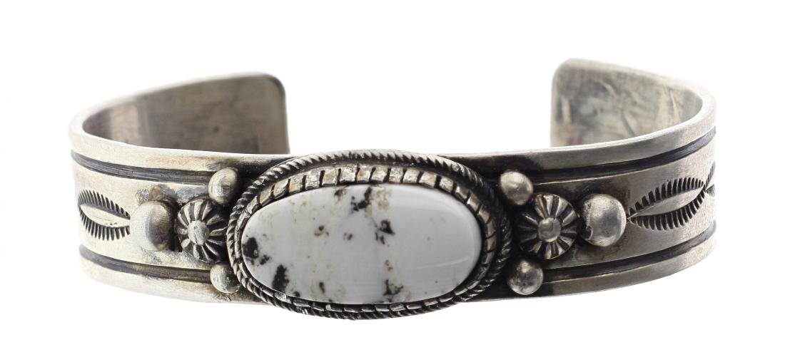 Sterling Silver Genuine White Buffalo Bracelet Navajo