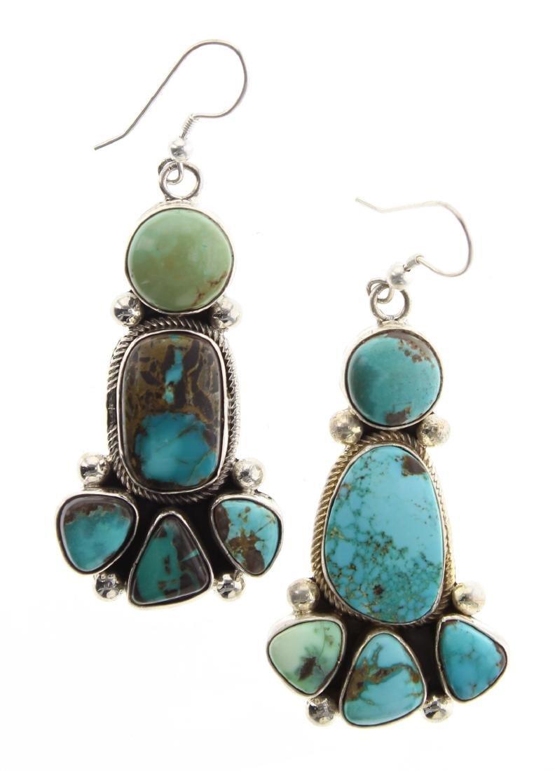 Sterling Silver Genuine Kingman Turquoise Earrings