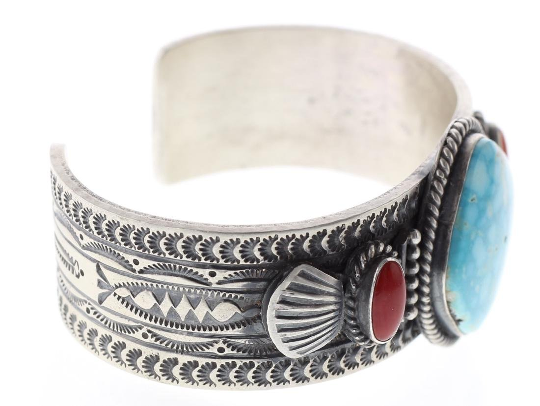 Sterling Silver Genuine Turquoise & Coral Bracelet - 3