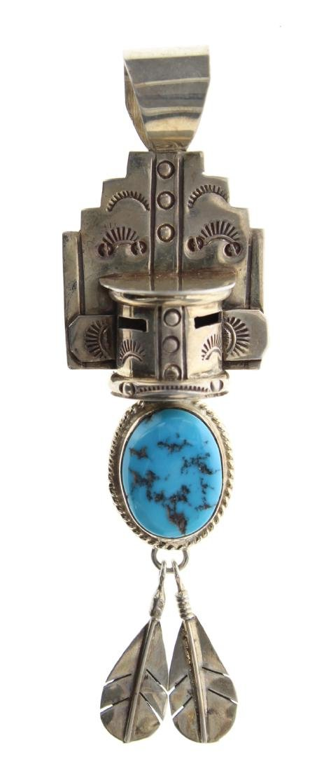Sterling Silver Genuine Turquoise Vintage Chief Head