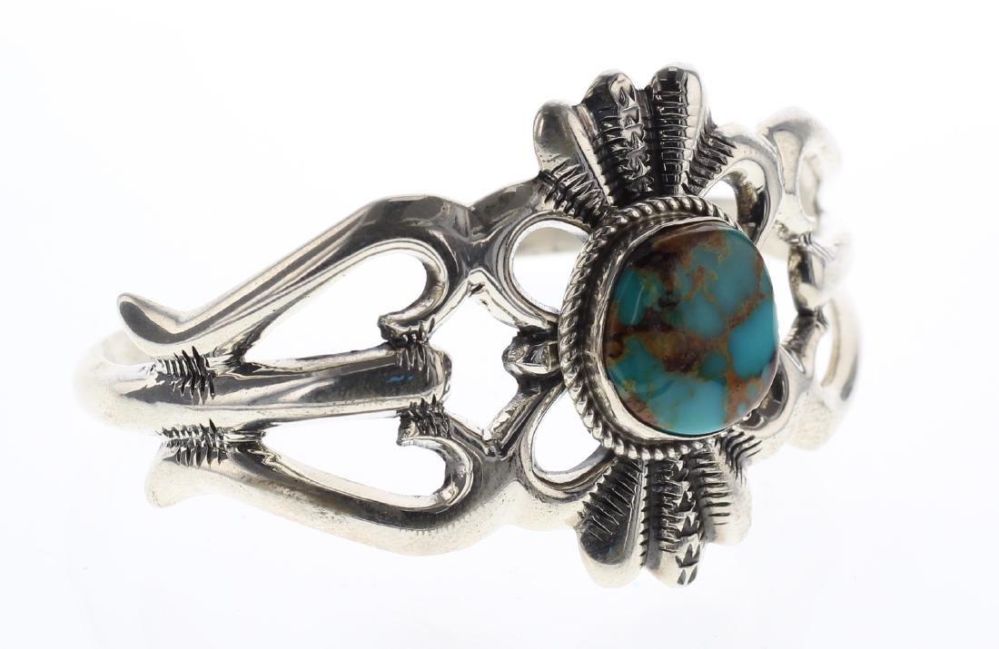 Sterling Silver Wilson Begay Genuine Turquoise Vintage - 2