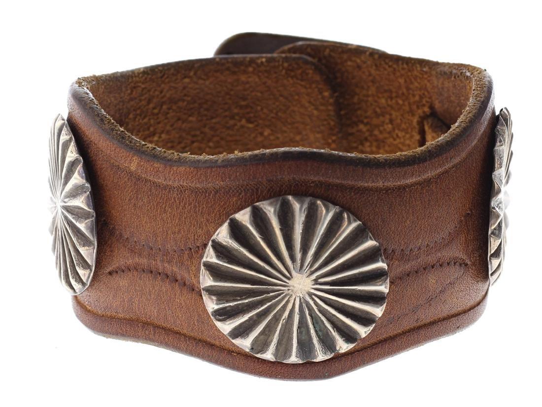 Sterling Silver Vintage Leather Bracelet Navajo Native