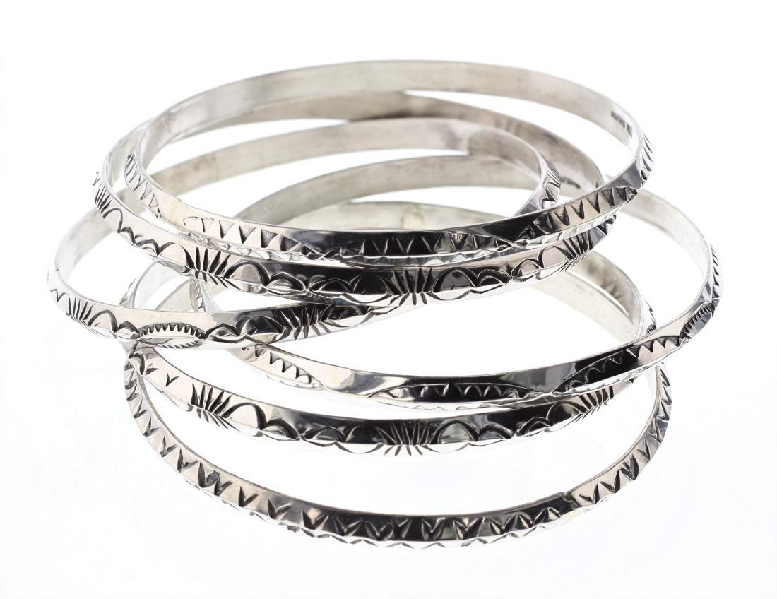 Sterling Silver 6 Contemporary Bangle Bracelets Lot