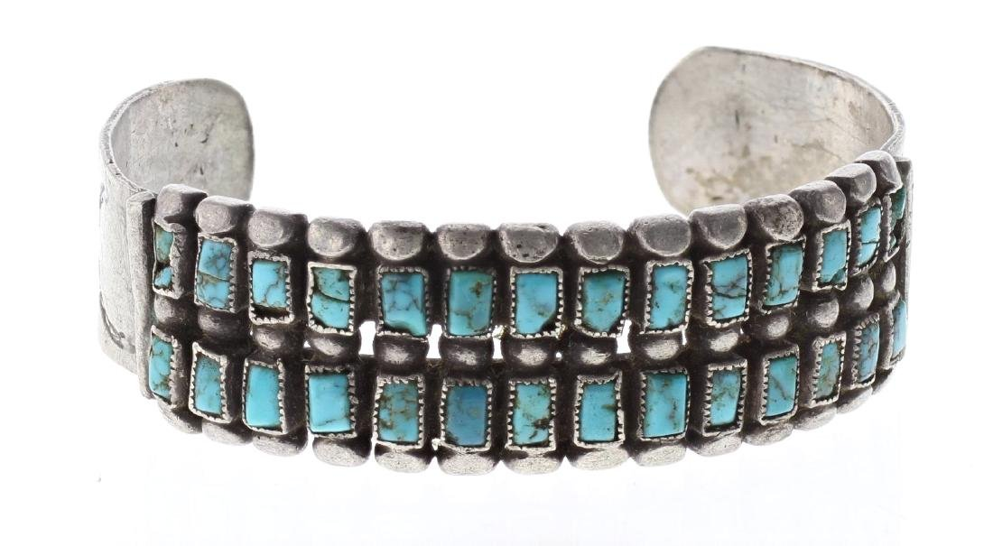 Sterling Silver Genuine Turquoise Vintage Old Pawn Row