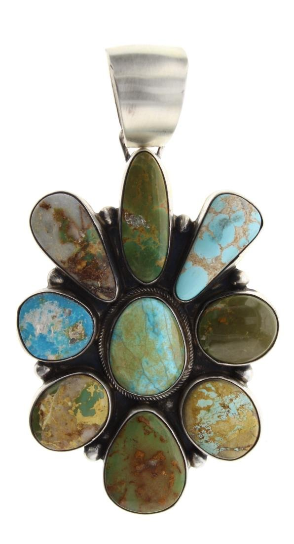 Sterling Silver Genuine Kingman Turquoise Pendant