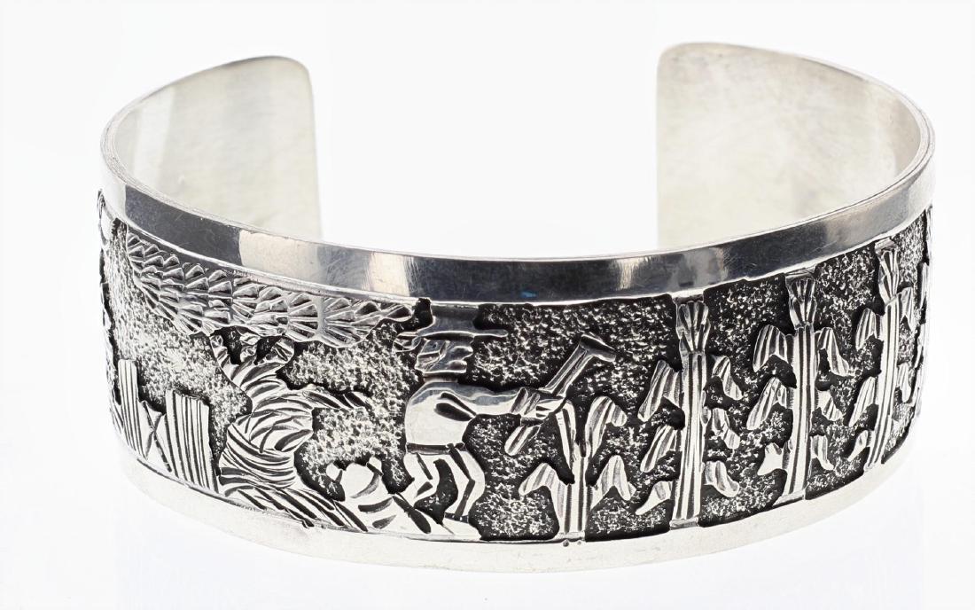 Sterling Silver Story Teller Design Bracelet Navajo