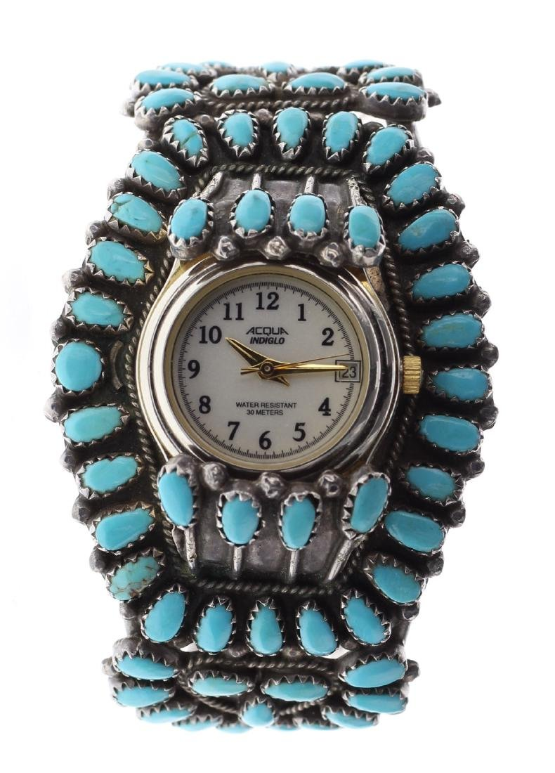 Sterling Silver Vintage Block Cluster Turquoise Watch