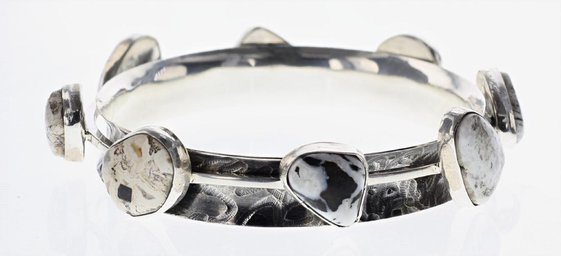 Sterling Silver Genuine White Buffalo Contemporary