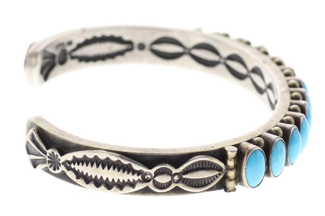 Sterling Silver Genuine Sleeping Beauty Turquoise Row - 2