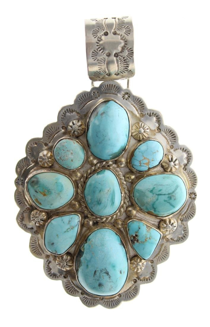 Sterling Silver Genuine Turquoise Vintage Large Pendant