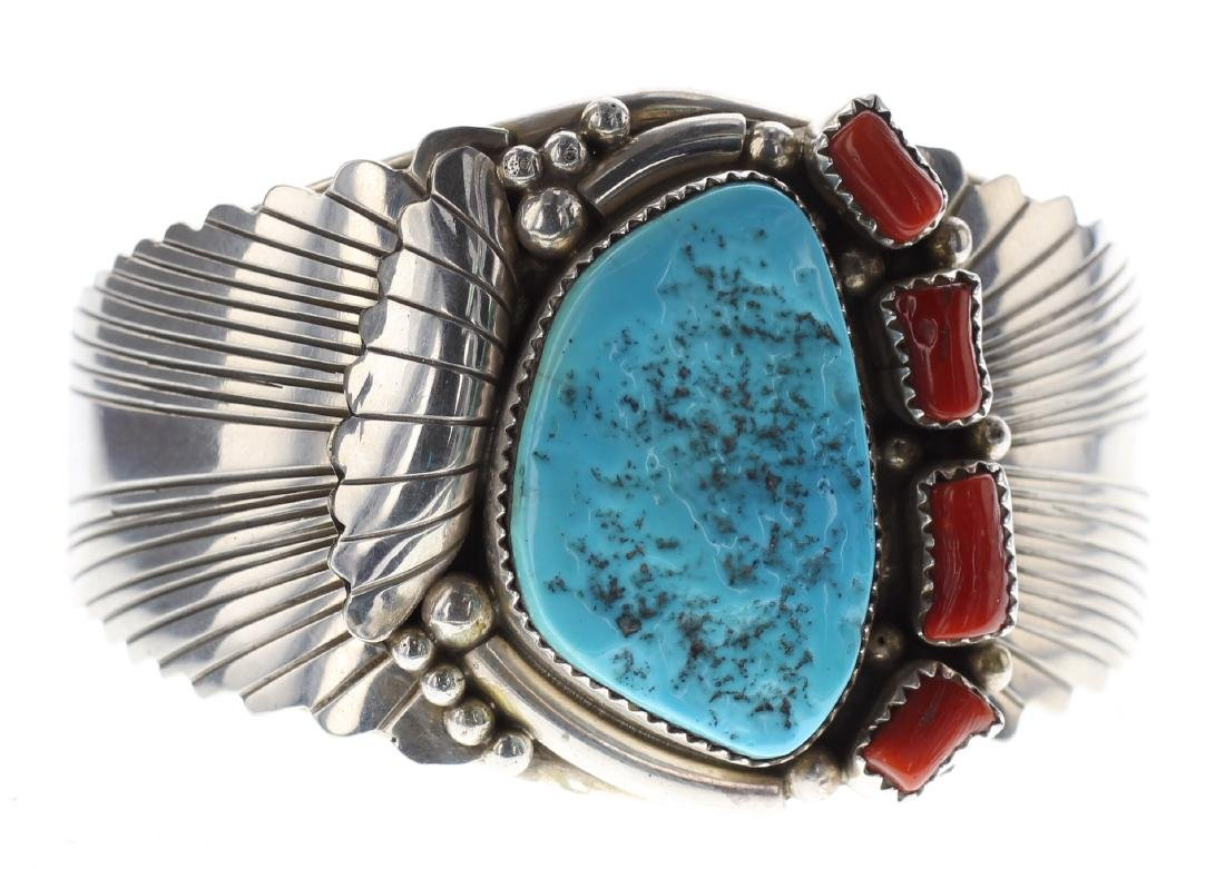 Sterling Silver Genuine Turquoise & Coral Bracelet