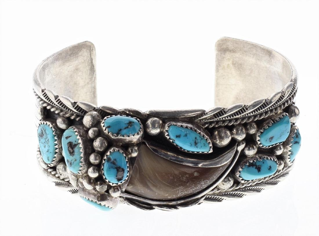 Sterling Silver Genuine Turquoise Bear Claw Vintage
