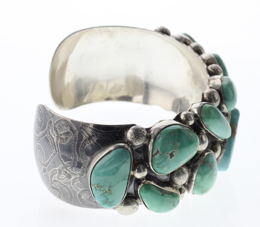 Sterling Silver Genuine Turquoise Bracelet Navajo - 2