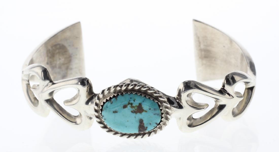 Sterling Silver Genuine Turquoise Vintage Sand Cast