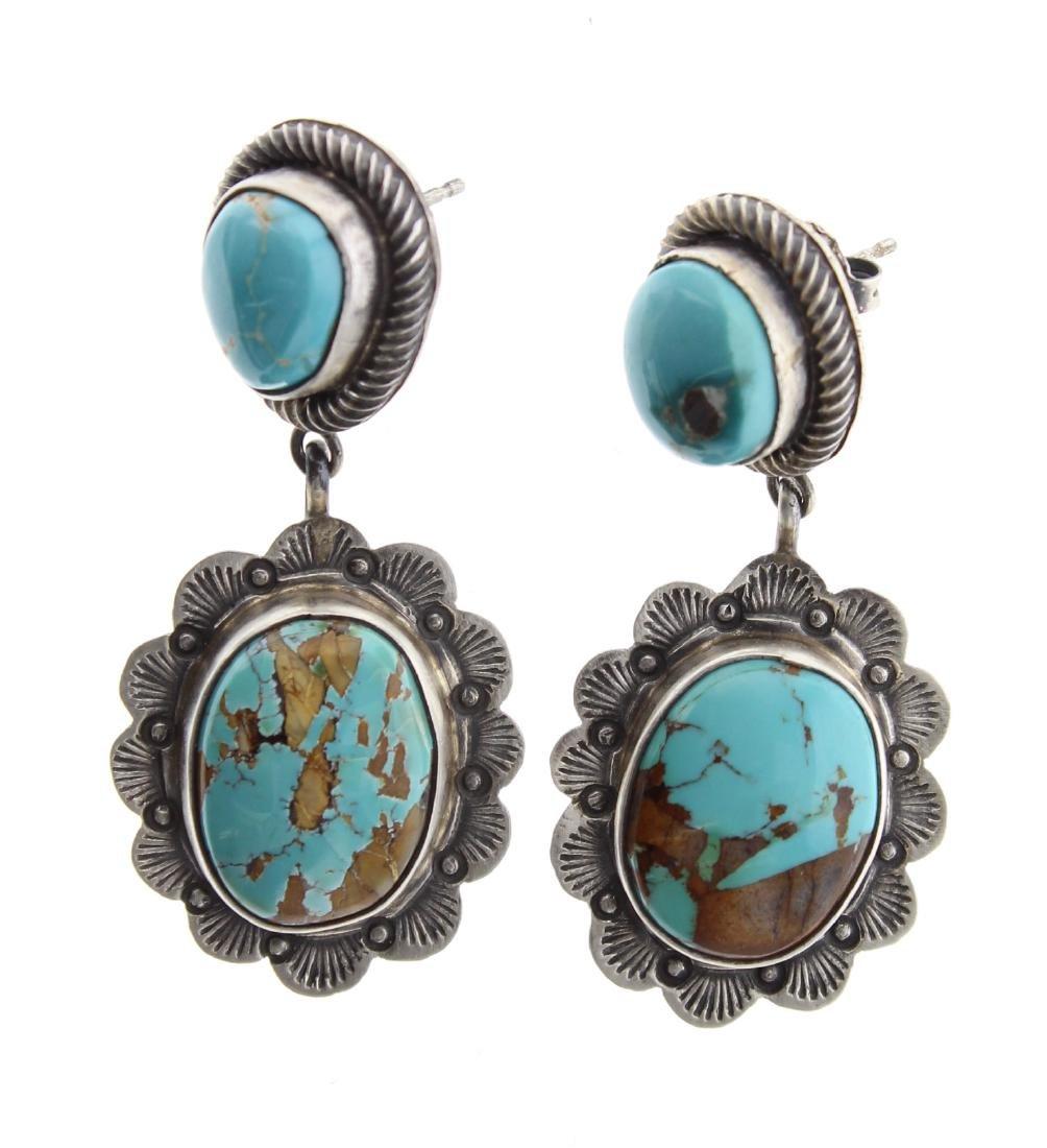 Sterling Silver Genuine Turquoise Post Earrings Navajo