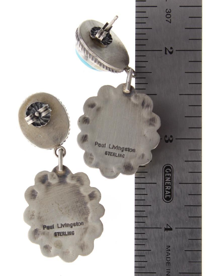 Sterling Silver Genuine Turquoise Post Earrings Navajo - 2
