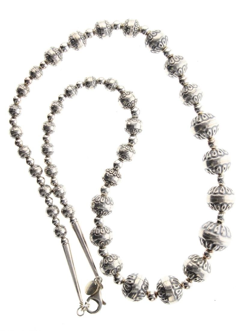 Sterling Silver Bench Beads Necklace Navajo Native