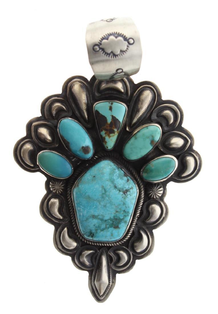 Sterling Silver Genuine Turquoise Pendant Navajo Native