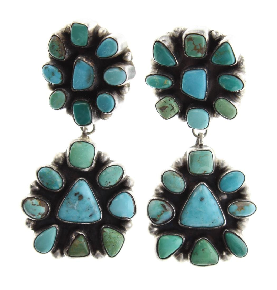 Sterling Silver Genuine Turquoise Large Cluster