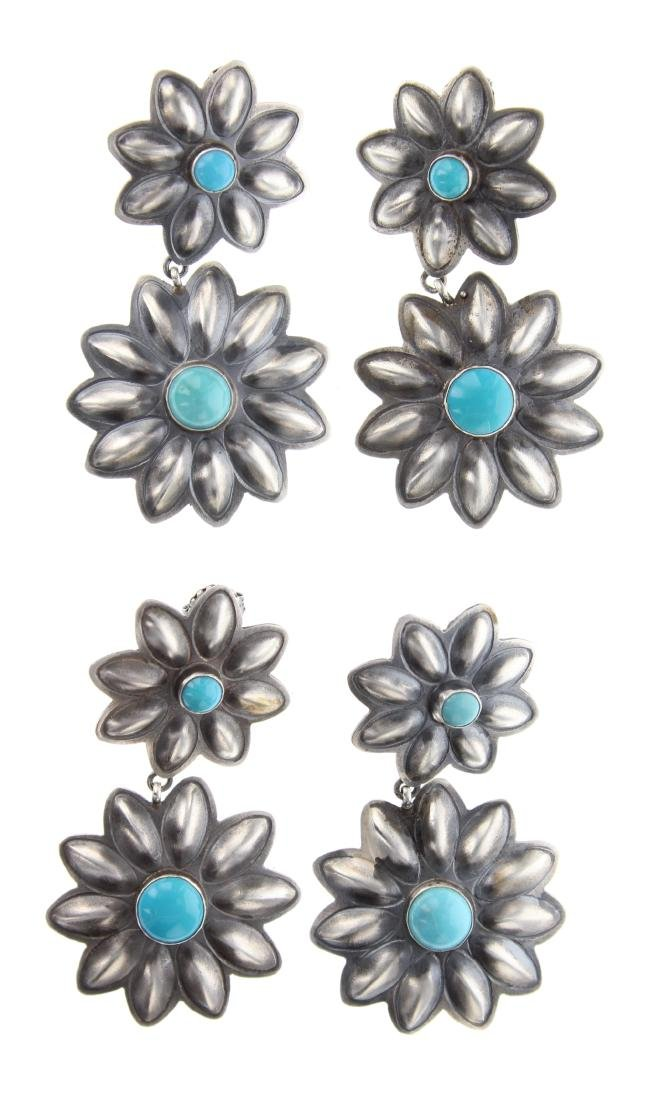 Sterling Silver Genuine Turquoise Earrings 2 Pairs