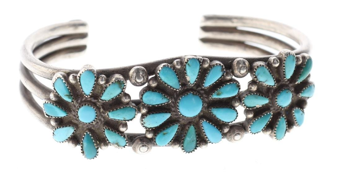 Sterling Silver Genuine Turquoise Vintage Flower