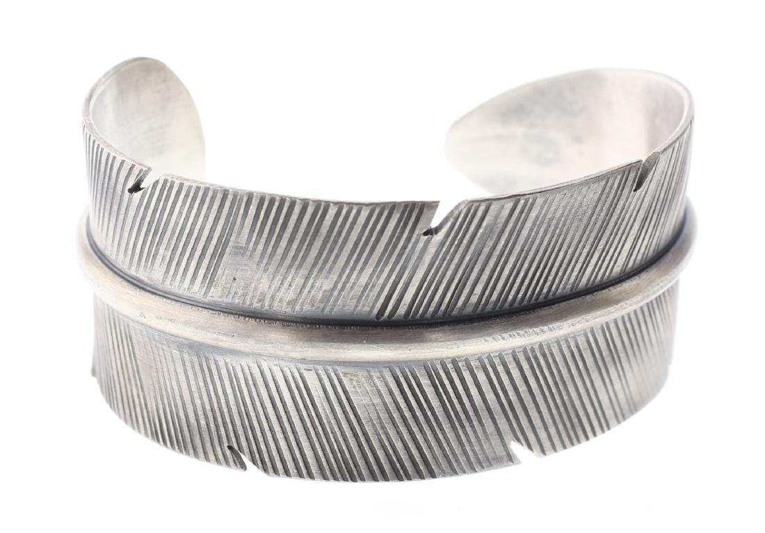 Sterling Silver Feather Bracelet Navajo Native American