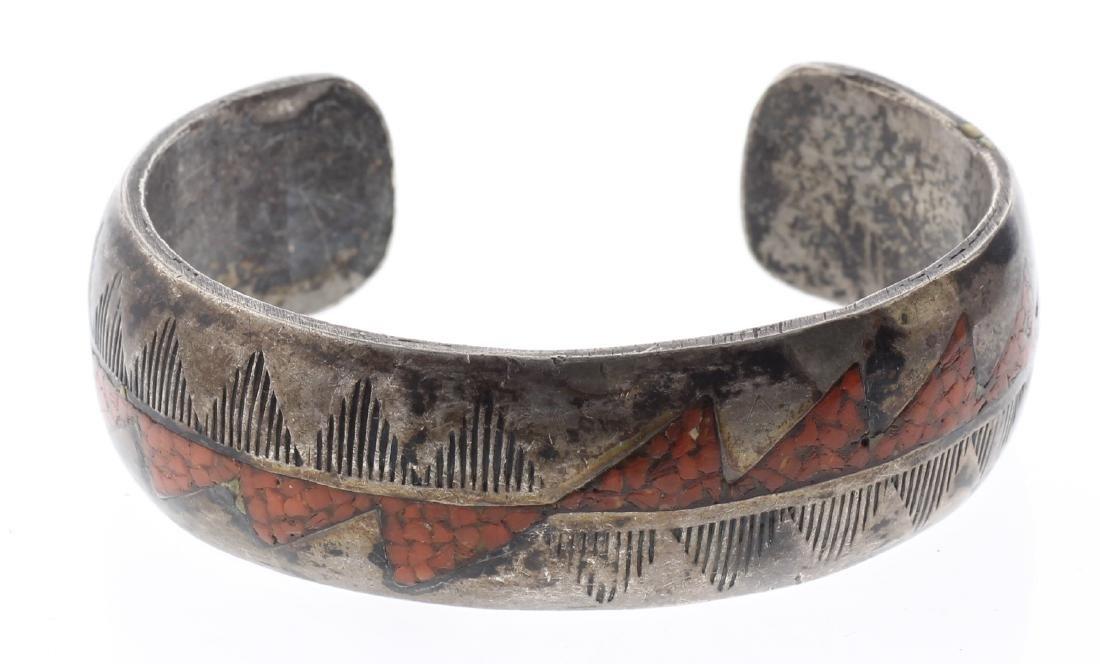 Sterling Silver Crushed Coral Vintage Old Pawn Bracelet