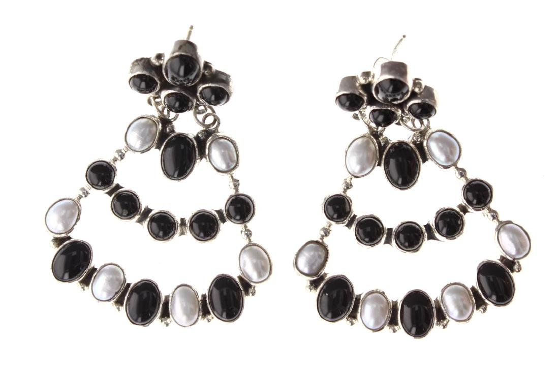 Sterling Silver Genuine Black Onyx & Pearl Earrings