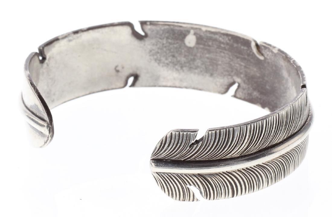 Sterling Silver Vintage Feather Bracelet Navajo Native - 2