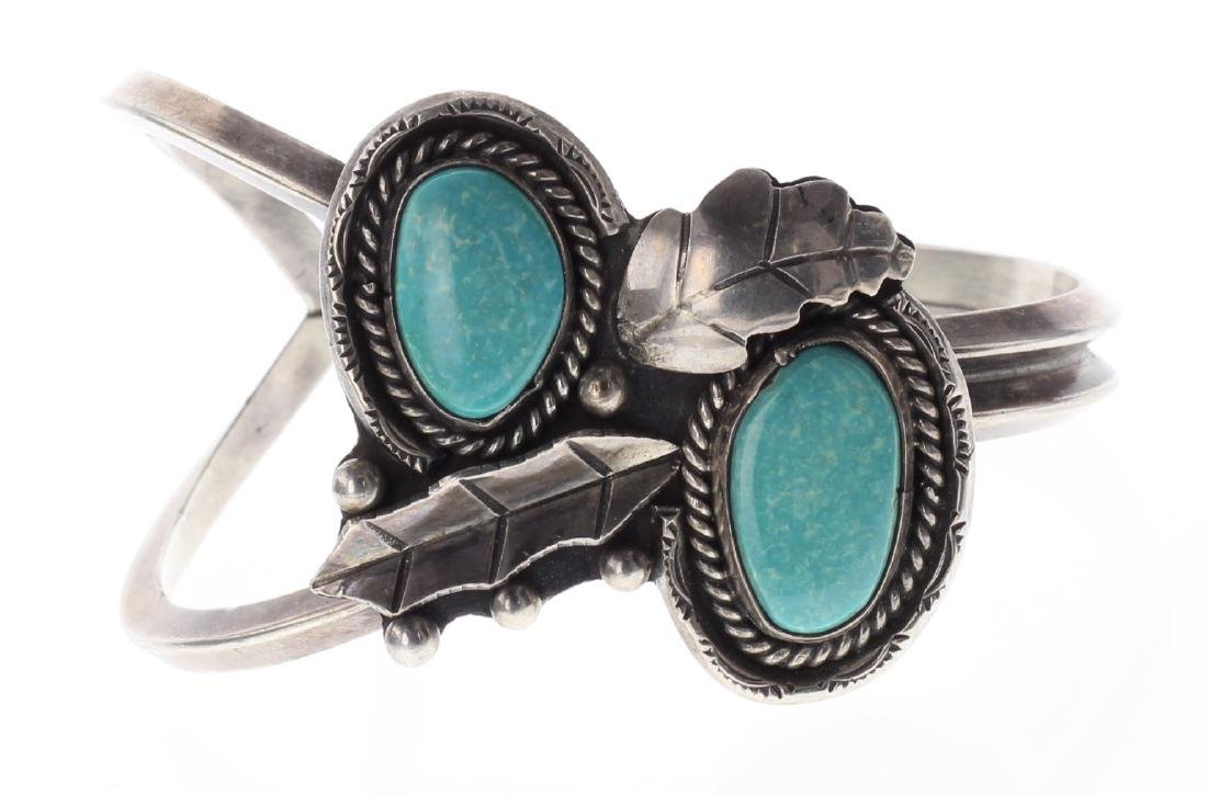Sterling Silver Genuine Turquoise Leaf Bracelet Navajo