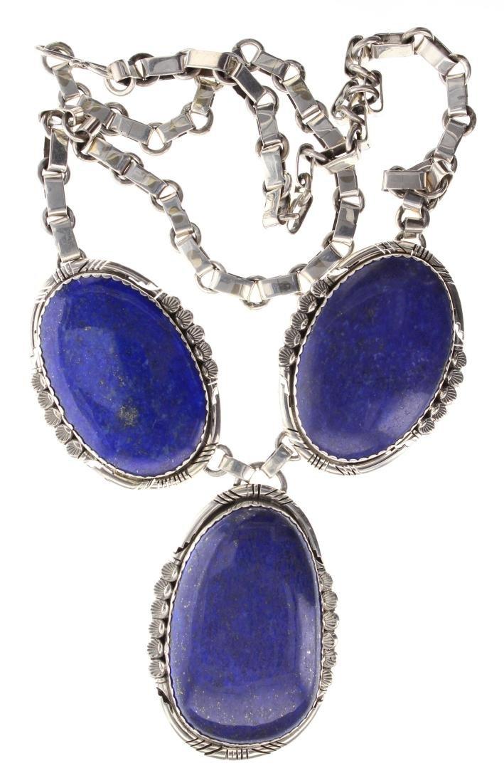 Sterling Silver Genuine Lapis Necklace Navajo Native