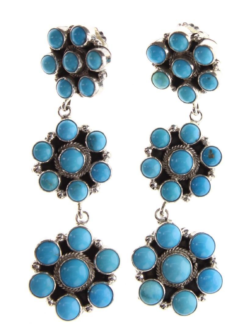 Sterling Silver Genuine Turquoise Flower Drop Earrings