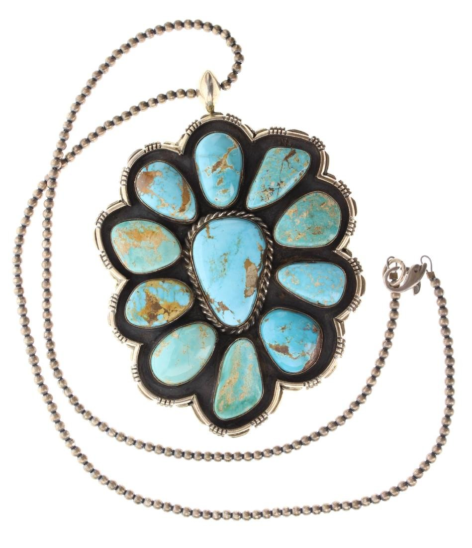 Sterling Silver Genuine Kingman Turquoise Large Pendant