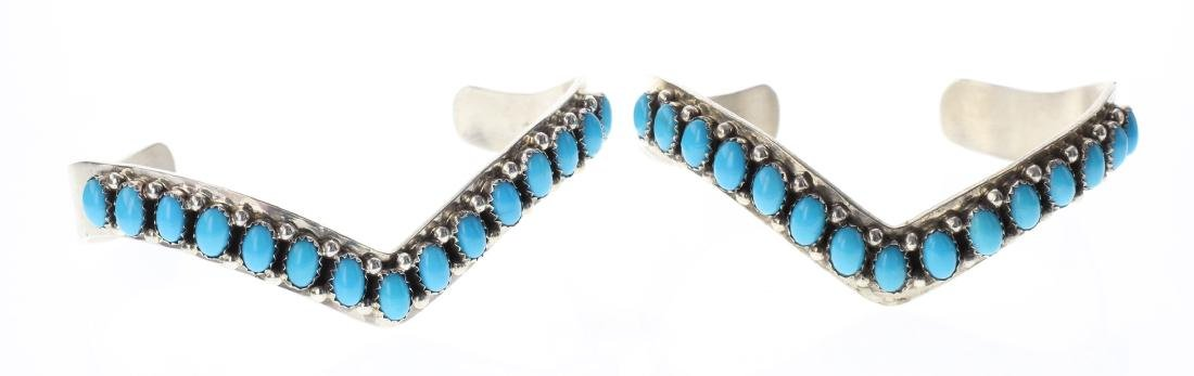 Sterling Silver Genuine Sleeping Beauty Turquoise Row