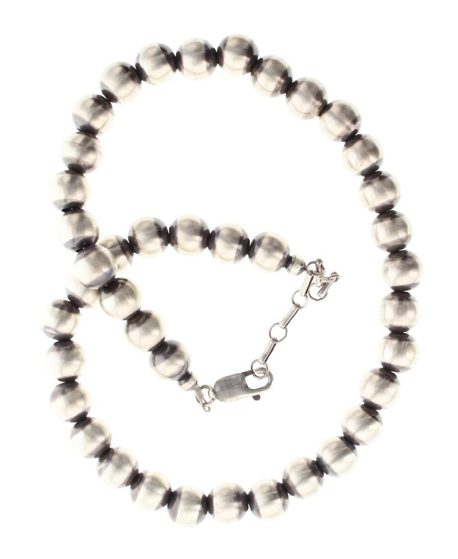 Sterling Silver Oxidized Beads Necklace