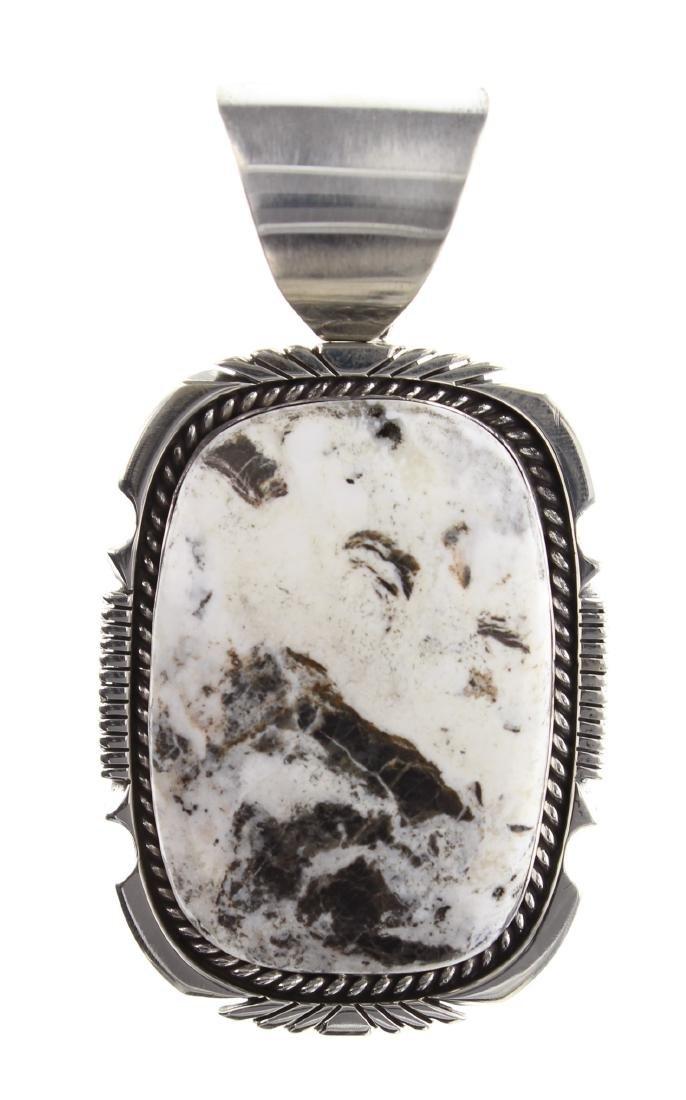 Sterling Silver Genuine White Buffalo Pendant Navajo