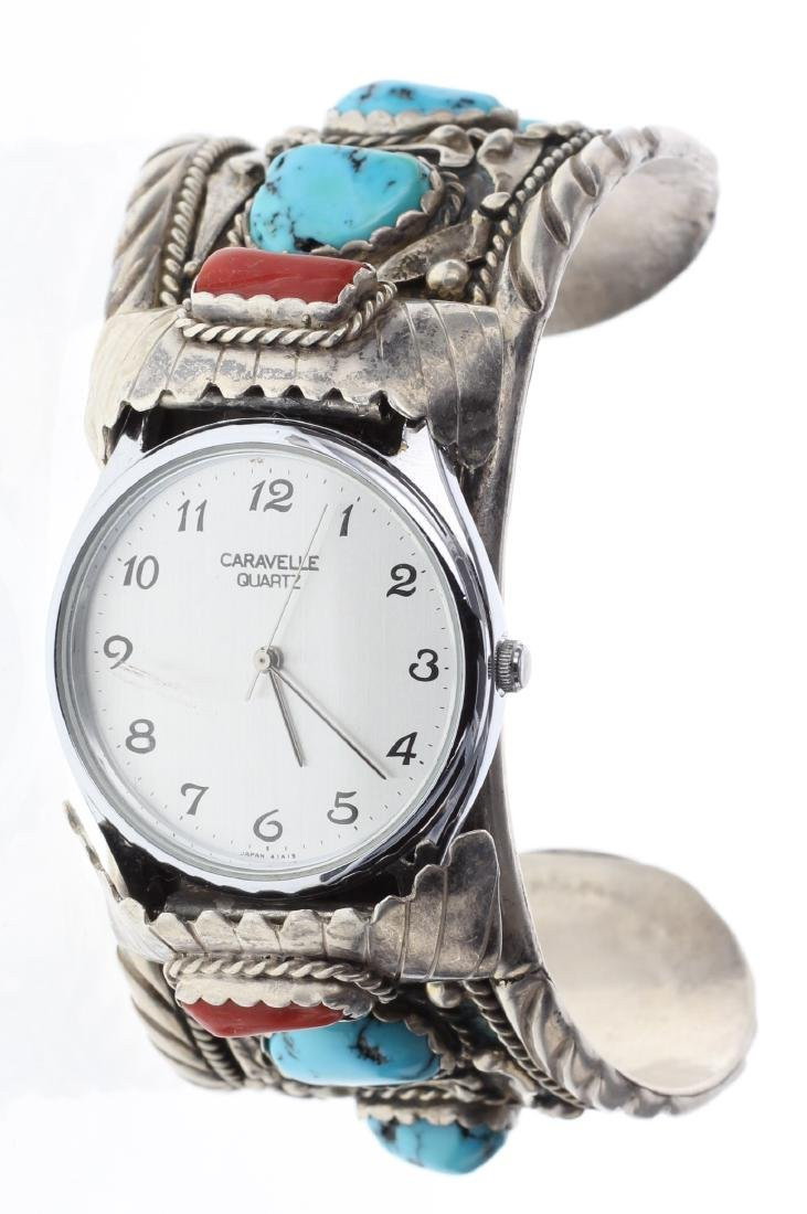 Sterling Silver Genuine Turquoise & Coral Vintage Watch