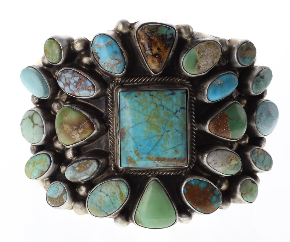 Sterling Silver Genuine Kingman Turquoise Large Cluster