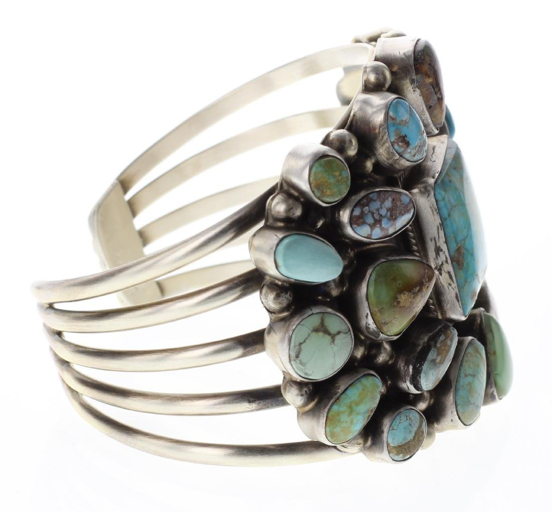 Sterling Silver Genuine Kingman Turquoise Large Cluster - 2