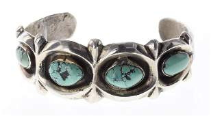 Sterling Silver Genuine Turquoise Heavy Sand Cast
