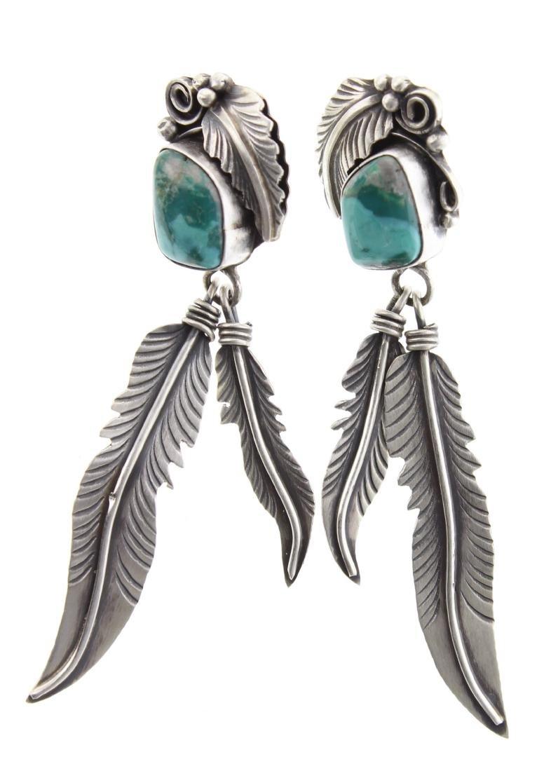 Sterling Silver Genuine Turquoise Leaf Earrings Navajo