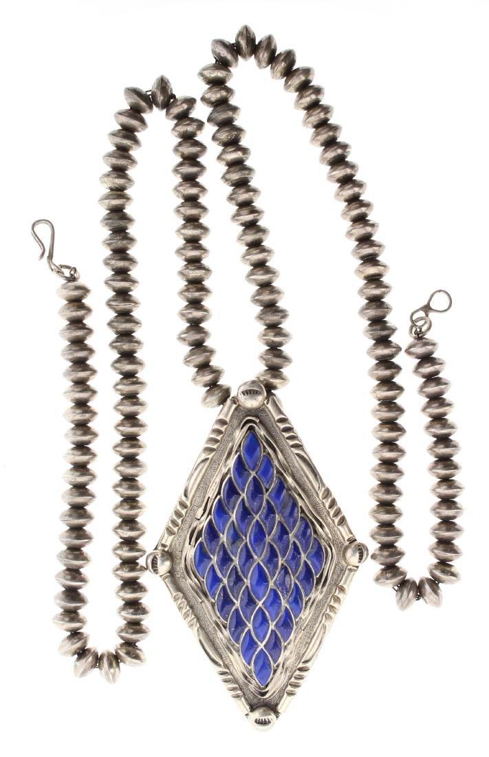 Sterling Silver Genuine Lapis Inlay Vintage Pendant &