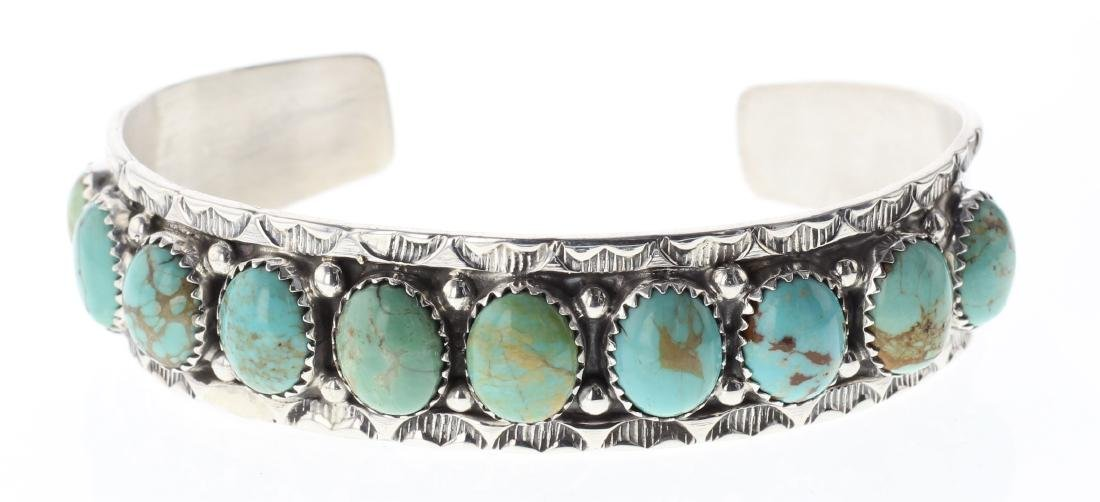 Sterling Silver Genuine Turquoise Row Bracelet Navajo