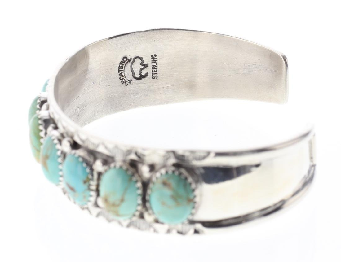 Sterling Silver Genuine Turquoise Row Bracelet Navajo - 2