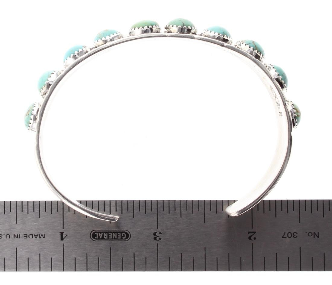 Sterling Silver Genuine Turquoise Row Bracelet Navajo - 3