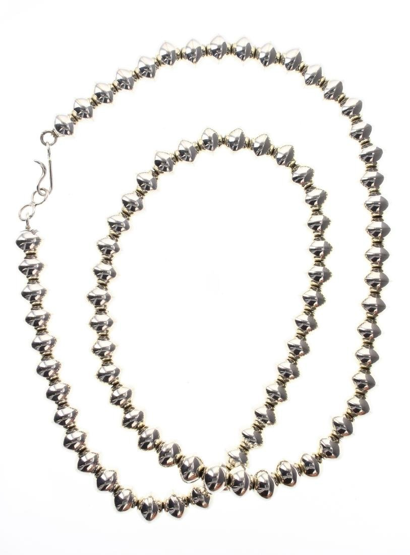 Sterling Silver Larry Pinto Bench Beads Necklace Navajo