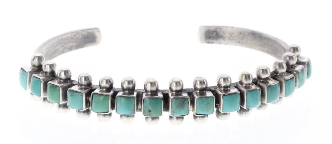 Sterling Silver Genuine Turquoise Row Bracelet Navajo
