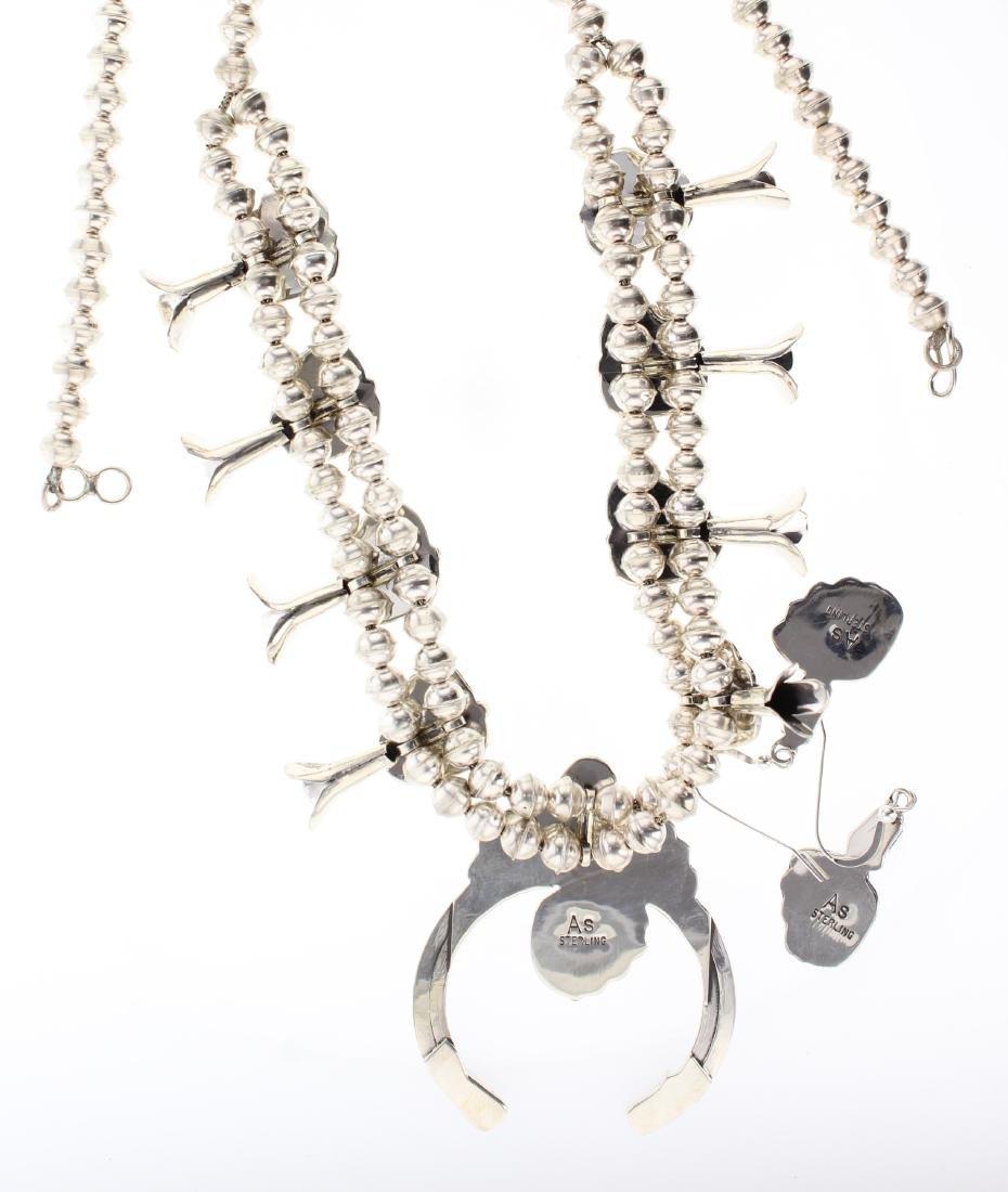 Sterling Silver Genuine Coral Squash Blossom Necklace & - 2