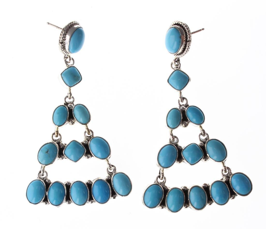 Sterling Silver Genuine Turquoise Chandelier Earrings